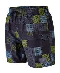 Speedo Printed Check Leisure 16 Watershort Black/Lime