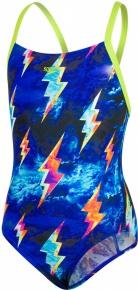 Speedo Strike Flash Placement Digital Crossback Girl Black/Lime Punch/Violet