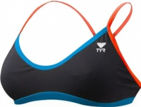 Tyr Solid Brites Crosscutfit Bikini Top Black/Blue/Coral