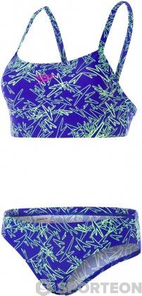 Speedo Boom Allover 2 Piece Chroma Blue/Bright Zest/Neon Orchid