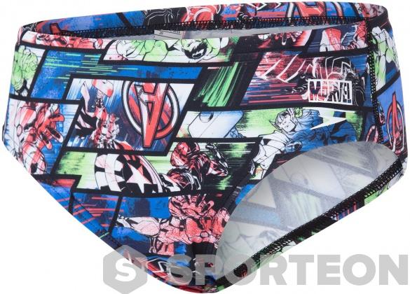 Speedo Marvel Avengers Allover Brief Boy Black/Neon Blue/Lava Red