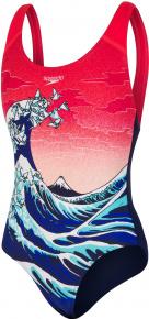 Speedo OrigamiWave Placement Digital Splashback Girl Navy/Lava Red/Black/White