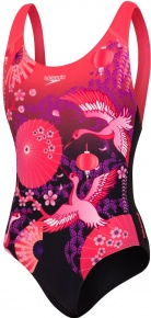 Speedo Crane Blossom Placement Digital Splashback Girl Black/Diva/Neon Orchid/White