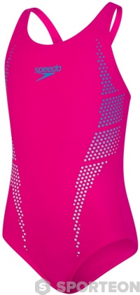 Speedo Plastisol Placement Muscleback Girl Electric Pink/Pool/Chill Blue
