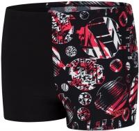 Speedo GlitchAmp Allover 1 Leg Aquashort Boy Black/Lava Red/White